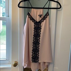 Express pink and black lace blouse